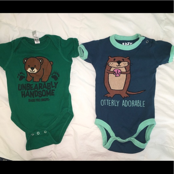 Lazy One Infant Girls Creeper One piece Blue Pink I Otter Be In Bed